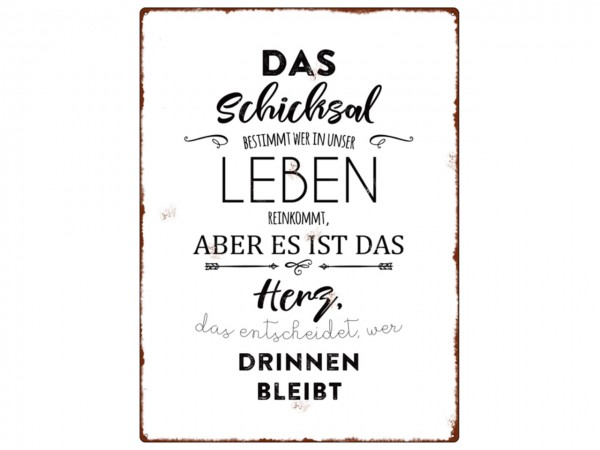 """Metallschild """"Das Schicksal bestimmt"""""""