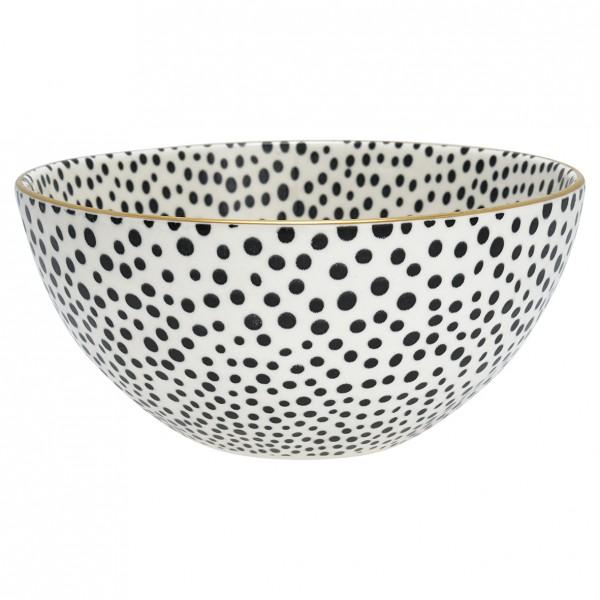 Greengate Bowl Dot Black w/gold large