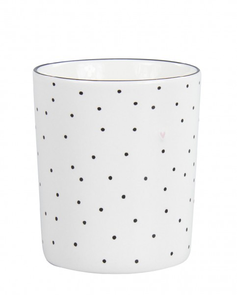 Bastion Collections Becher / Mug White/dots in black and heart in rose