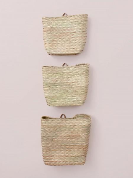 Wandkörbe im 3er Set, Palmblatt - handgewebt