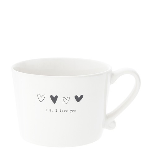 Bastion Collections Cup White / Hearts Black & P.S. I love you