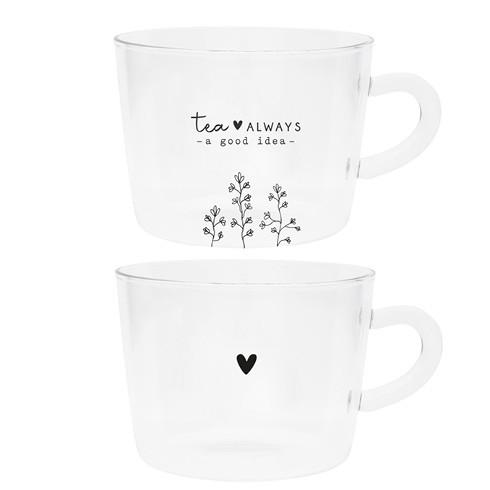 Bastion Collections Tumbler / Teetasse im 2er Set, Tea is always a good Idea/Herz