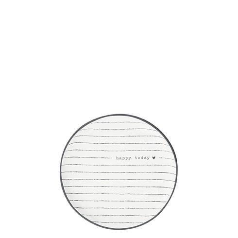 Bastion Collections Kleines Tellerchen/Teebeutelablage/Tea Tip White / Stripes and Happy in Black