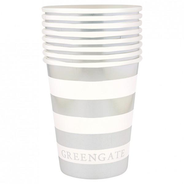 Greengate Pappbecher / Paper Mug, Stripe Silver, 8 St.