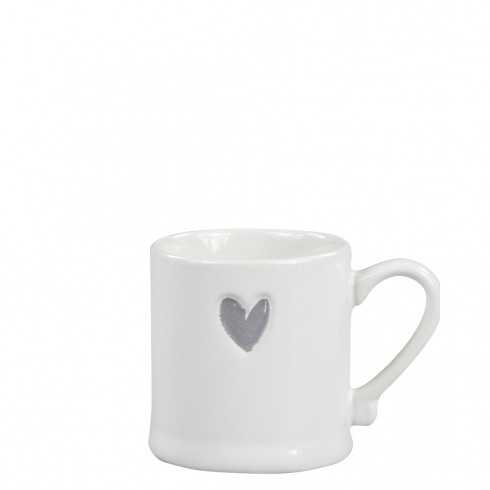 Bastion Collections Espressotasse White/Heart in Grey