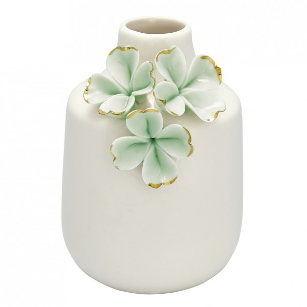 Greengate Vase Flower pale green w/gold, small