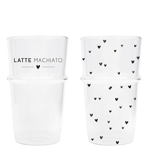 Bastion Collections Tumbler / Latte Glas kleine Herzen oder Schriftzug Latte Machiato