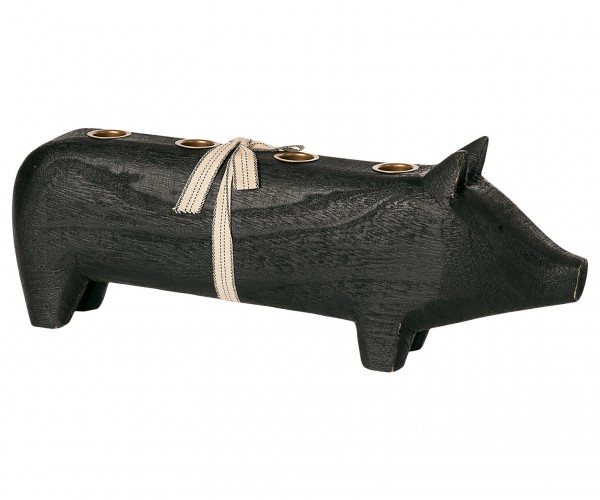 "Maileg, Advent Schwein ""Wooden pig, Black, Large 2020"" für 4 Kerzen"