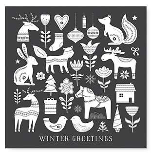 "Tafelgut, Karte ""Winter Greetings"", quadratisch"