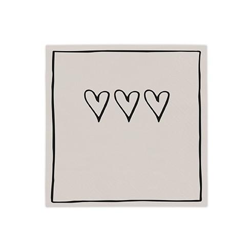 Bastion Collections Kleine Papierservietten Titane/Black 3 hearts