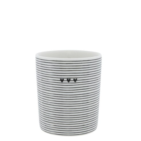 Bastion Collections Becher / Mug Stripes 3 Hearts, Black, SS21