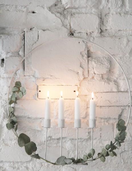 Kerzenring für 4 Stabkerzen, weiß