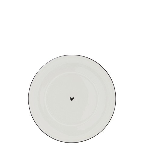 Bastion Collections Teller / Plate Cup White Heart with Black Edge