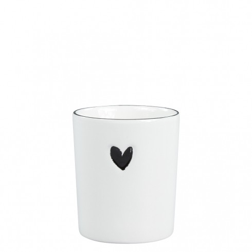 Bastion Collections Becher / Mug White/Big Heart in Black
