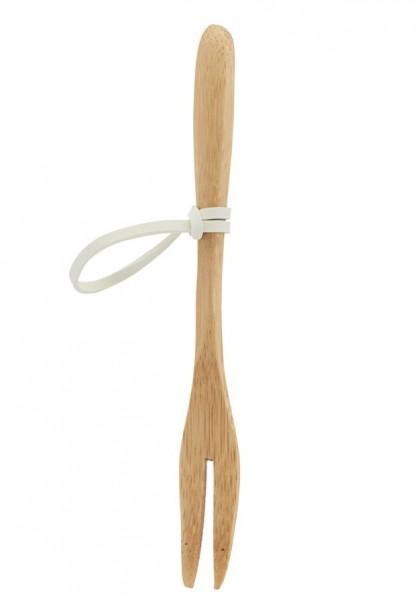 Bambusgabel mit Gummiband, 12 Stück