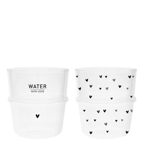 Bastion Collections Tumbler / Wasserglas Water with Love/Kleine Herzen im 2er Set