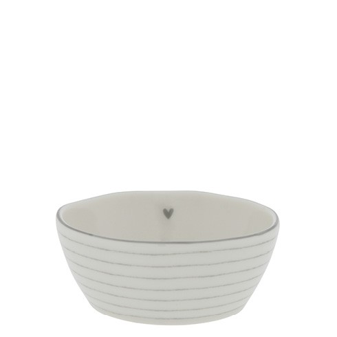 Bastion Collections Schale/Bowl Sauce with Heart and Stripes in Grey