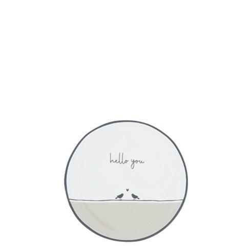 Bastion Collections Kleines Tellerchen/Teebeutelablage/Tea Tip White / Birds Hello You