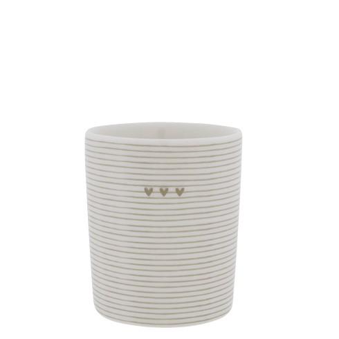 Bastion Collections Becher / Mug Stripes 3 Hearts, Titane, SS21