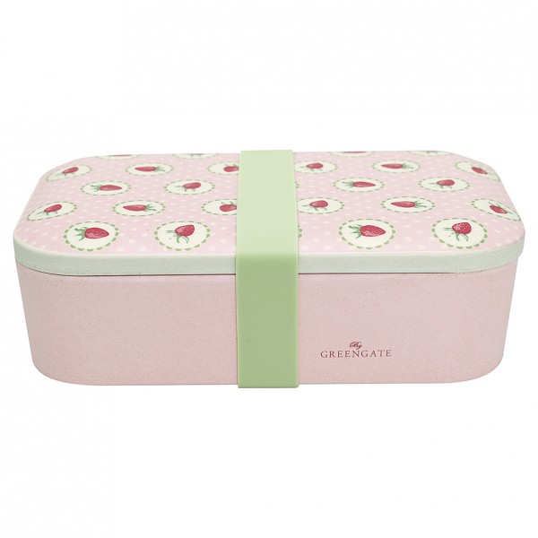GreenGate Bambus Lunch Box Strawberry Pale Pink
