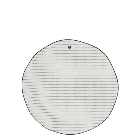 Bastion Collections Teller / Cake Plate Stripes White/edge Black