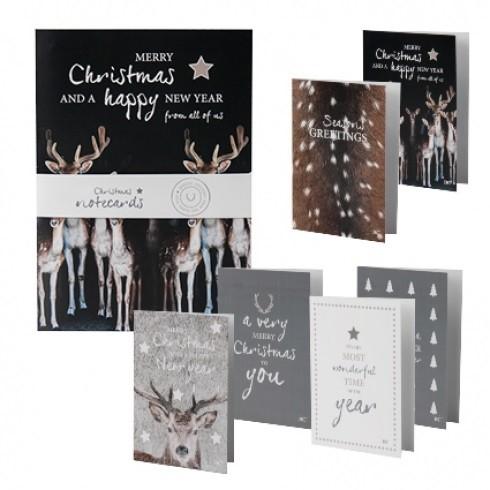 Bastion Collections Weihnachtskarten mit Umschlag, 6er Set