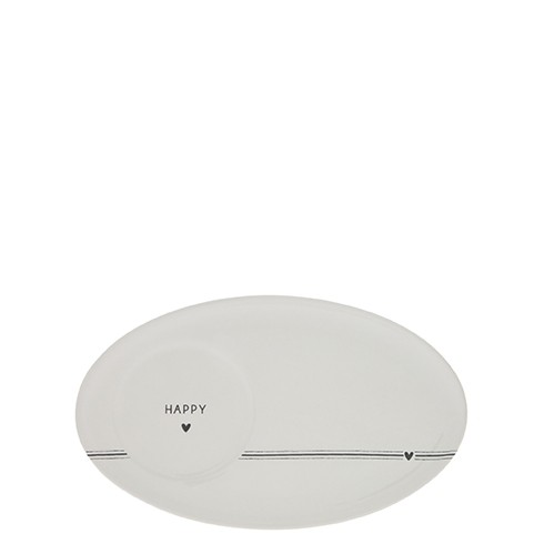 Bastion Collections Teller / Espresso Plate Heart/Happy in Black