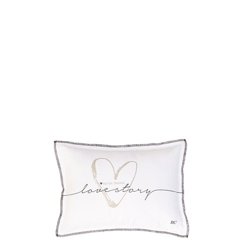 Bastion Collections Kleines Kissen White Chambray Lovestory