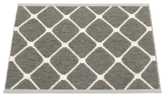 Pappelina Kunststoffteppich REX, charcoal - vanilla, 70 x 60 cm
