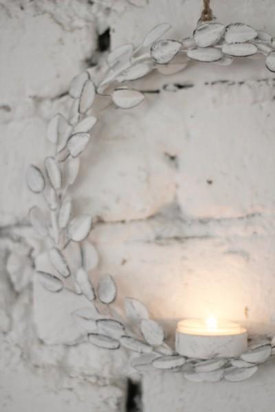 Metallring/-kreis mit Teelichthalter Blätter in weiß, klein