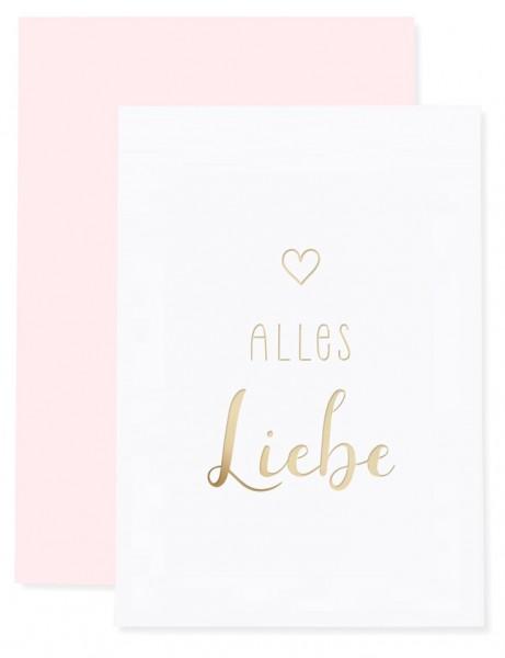 Eulenschnitt Klappkarte mit Kuvert, Alles Liebe Gold