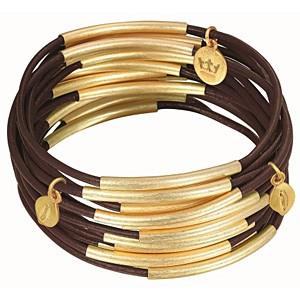 Sence Copenhagen Armband Urban Gipsy, matt brown worn gold, 3teilig