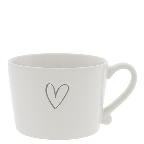 Bastion Collections Cup White / Heart in Grey ❤