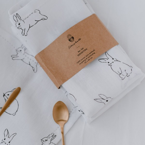 Eulenschnitt Stoffservietten Kaninchen im 4er Set, Leinen
