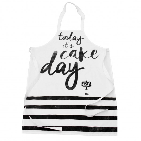 "Bastion Collections Schürze ""Today its cake day"", White"