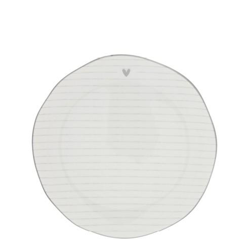 Bastion Collections Dessertteller Stripes White/edge grey