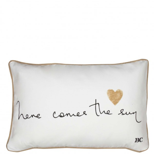 Bastion Collections Grosses Kissen, Here comes the sun, White / Black