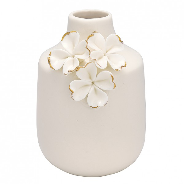 Greengate Vase Flower white w/gold, small
