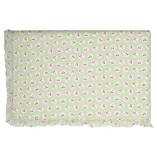 GreenGate Kleiner Quilt / Bed Cover Cherry Berry Pale Green w frill