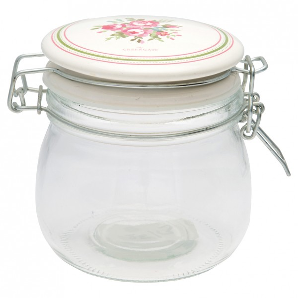GreenGate Vorratsglas mit Keramikdeckel, Constance White, 500 ml