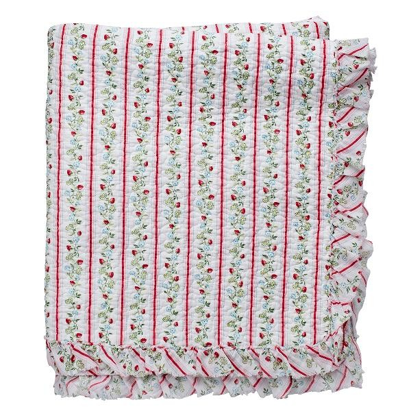 GreenGate Quilt / Bed Cover Gloria White w frill