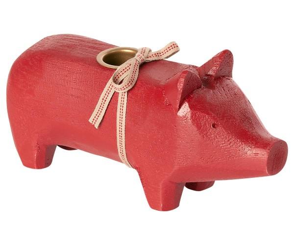 """Maileg, Schweinchen """"Wooden pig, Red, Medium 2020"""" für Kerze"""
