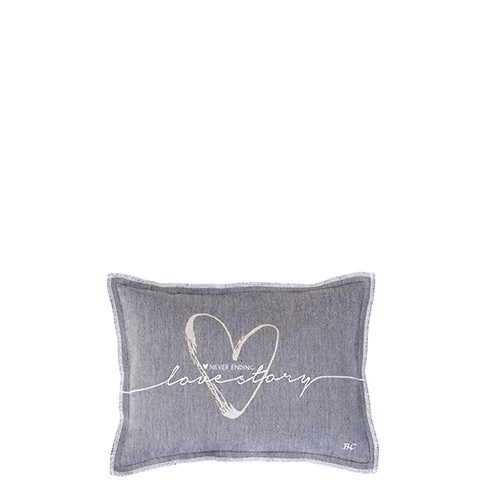 Bastion Collections Kleines Kissen Black Chambray Lovestory