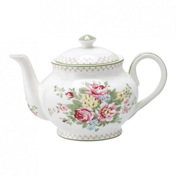 GreenGate Teekanne Aurelia White, rund