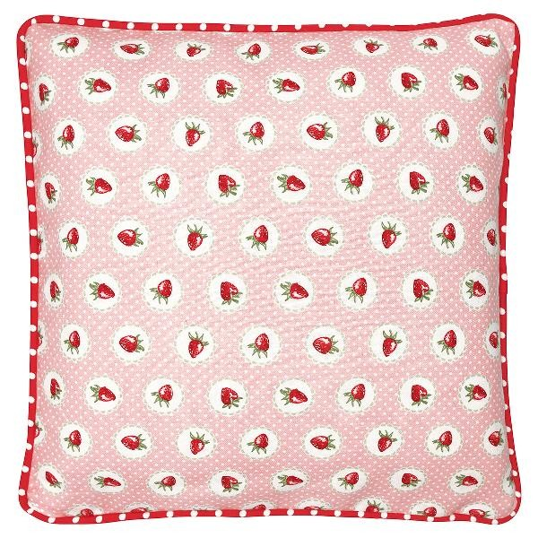 GreenGate Kissenhülle Strawberry Pale Pink, 40 x 40 cm