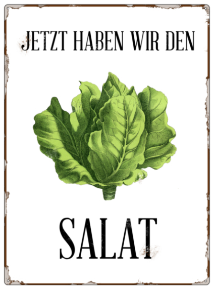 """Metallschild """"Da haben wir den Salat"""""""